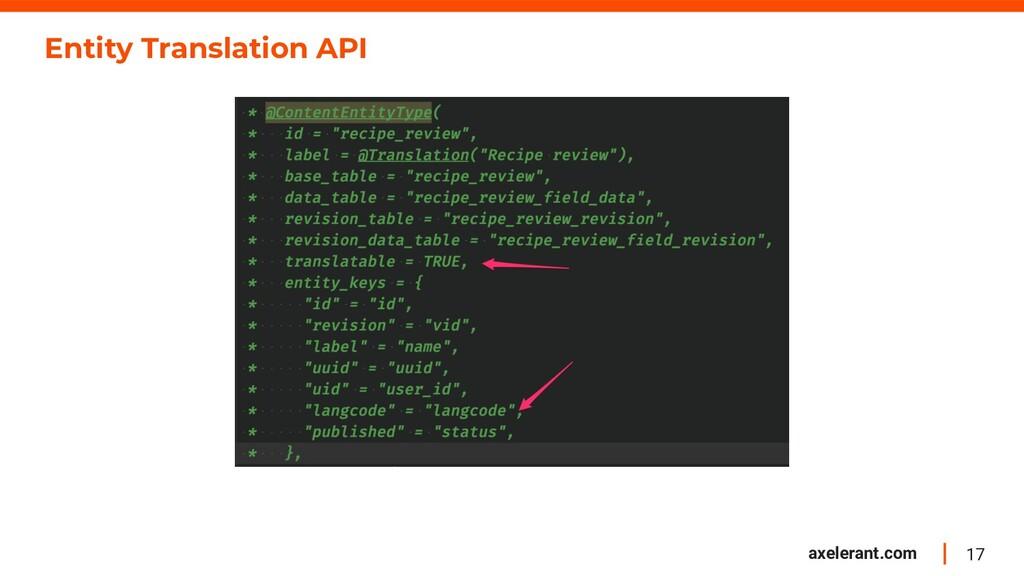 17 axelerant.com Entity Translation API
