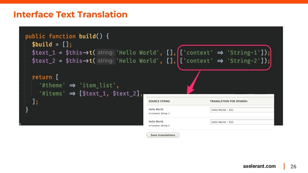 26 axelerant.com Interface Text Translation