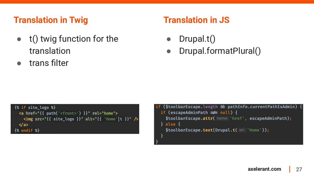 27 axelerant.com Translation in Twig ● t() twig...
