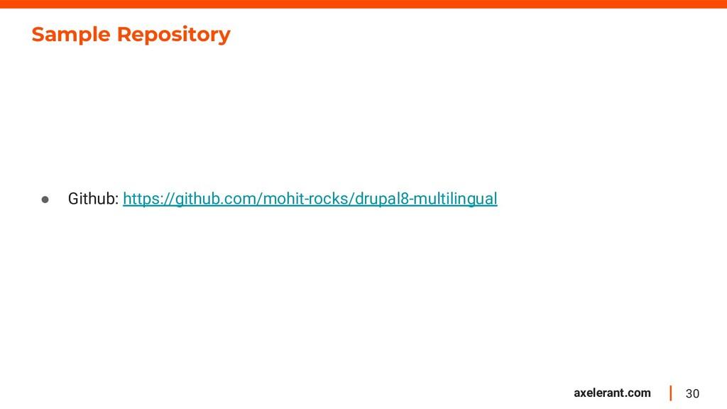 30 axelerant.com Sample Repository ● Github: ht...