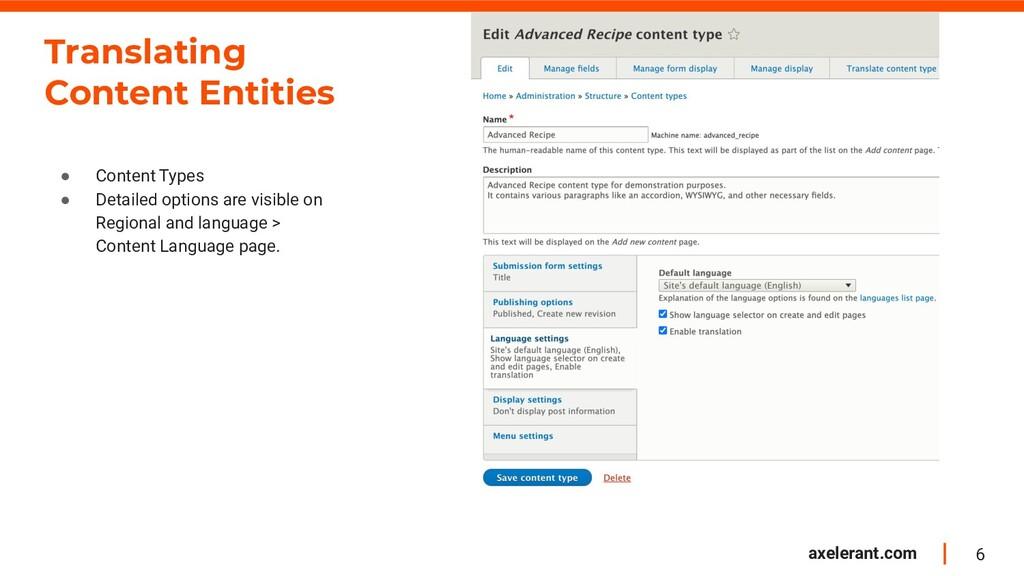 6 axelerant.com Translating Content Entities ● ...