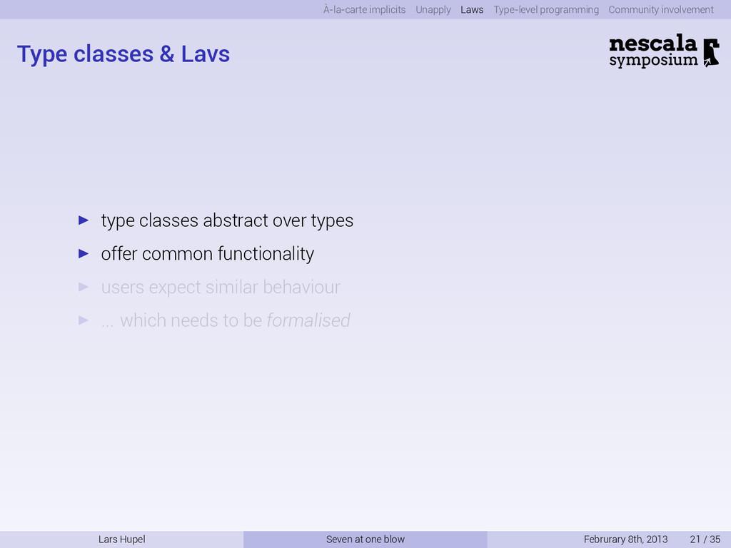 À-la-carte implicits Unapply Laws Type-level pr...