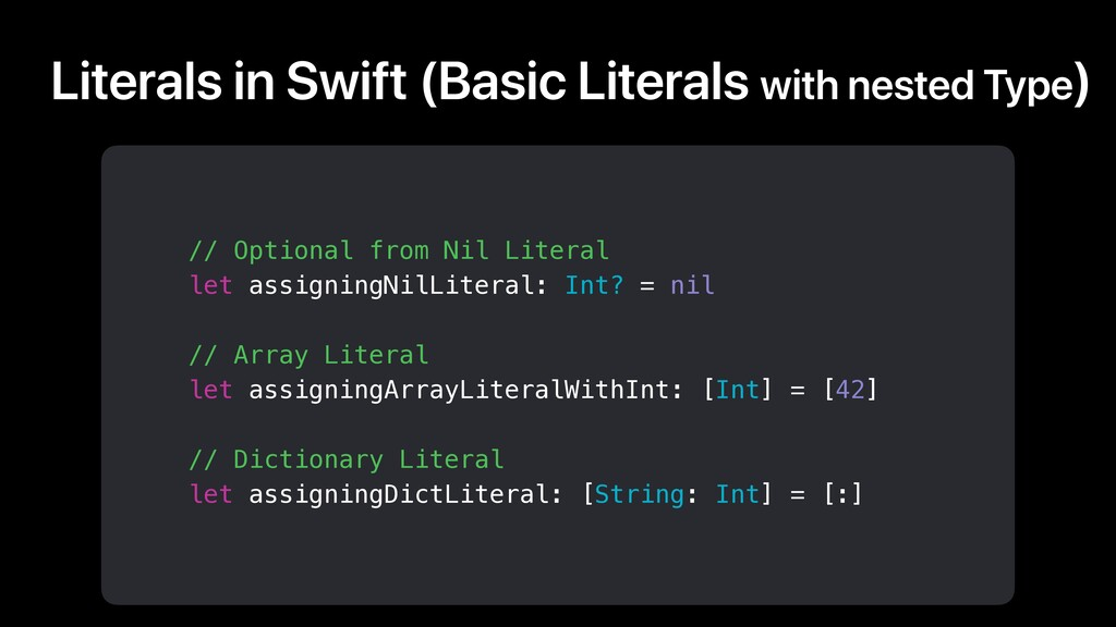 Literals in Swift (Basic Literals with nested T...