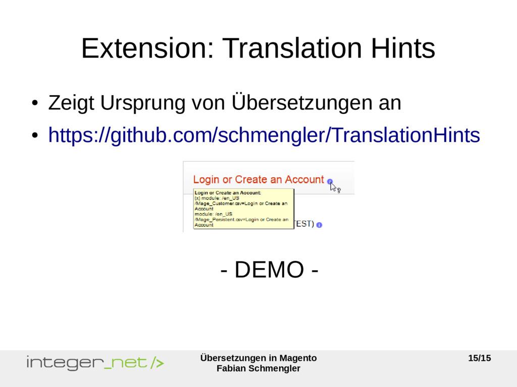 Übersetzungen in Magento Fabian Schmengler 15/1...