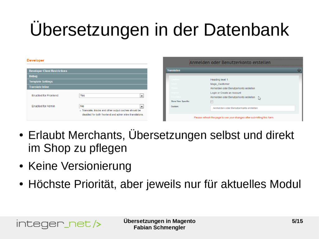 Übersetzungen in Magento Fabian Schmengler 5/15...