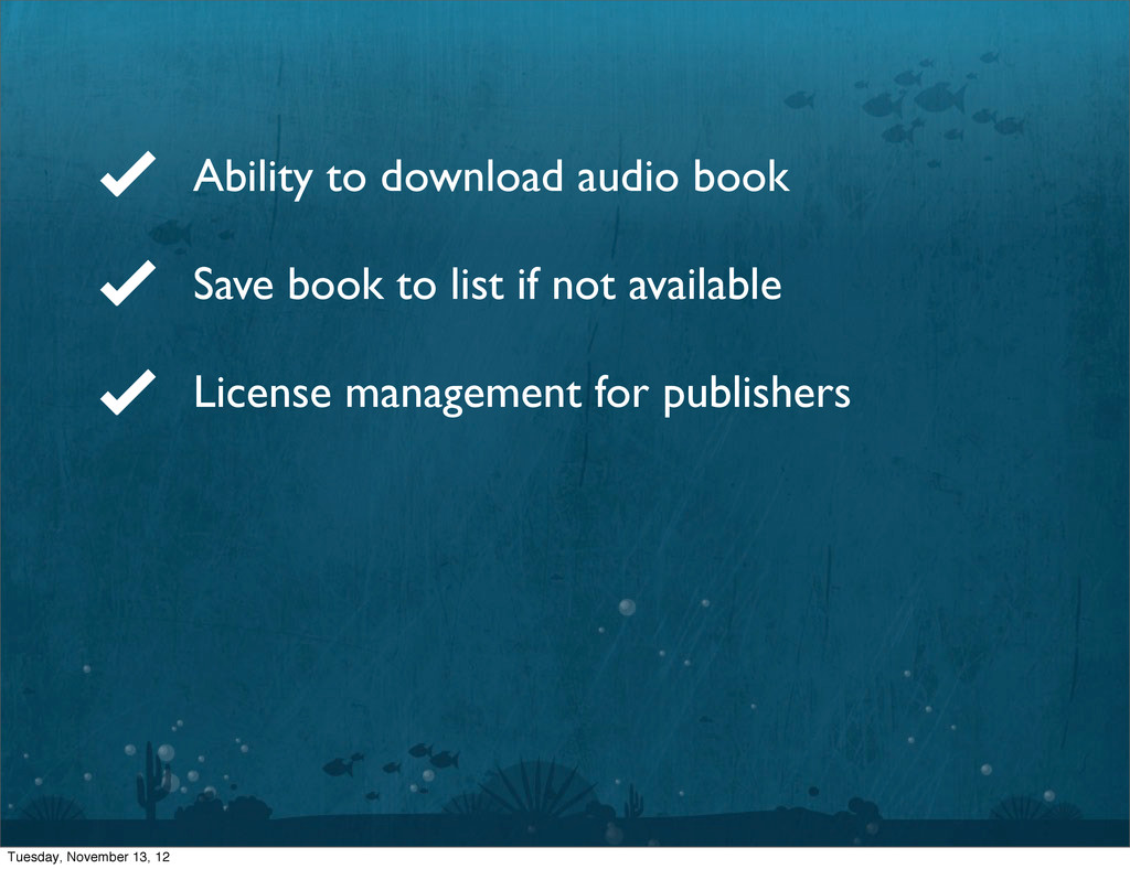 Ability to download audio book Save book to lis...