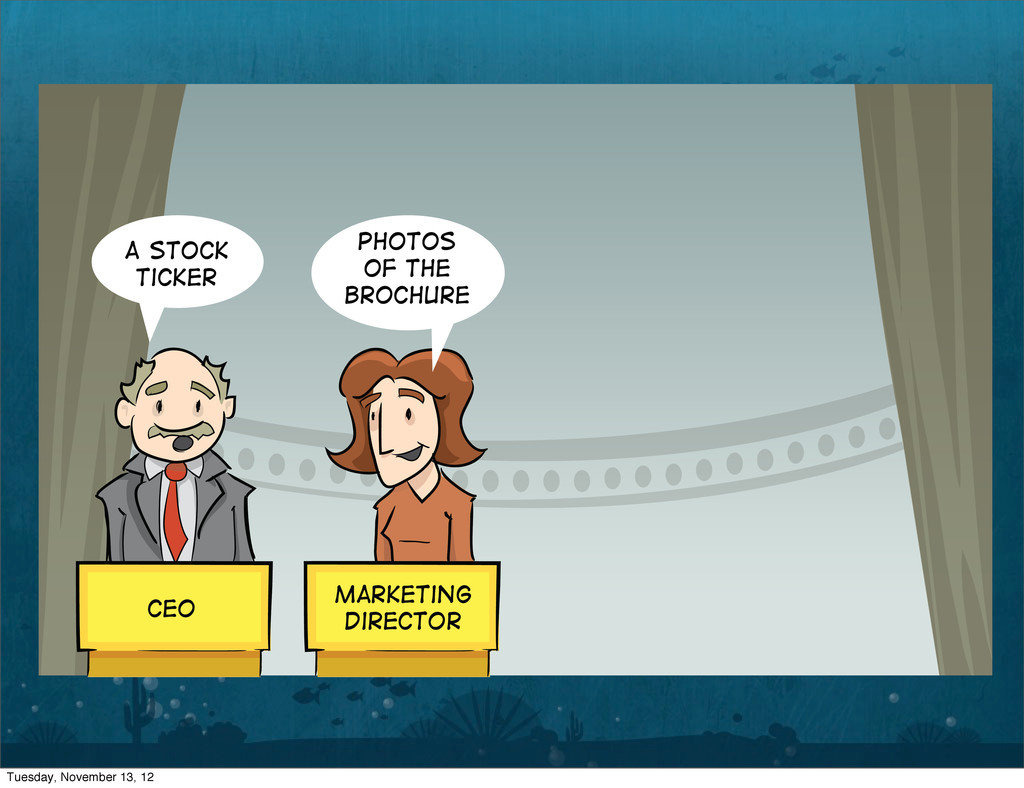 A Stock Ticker Photos of the brochure CEO Marke...