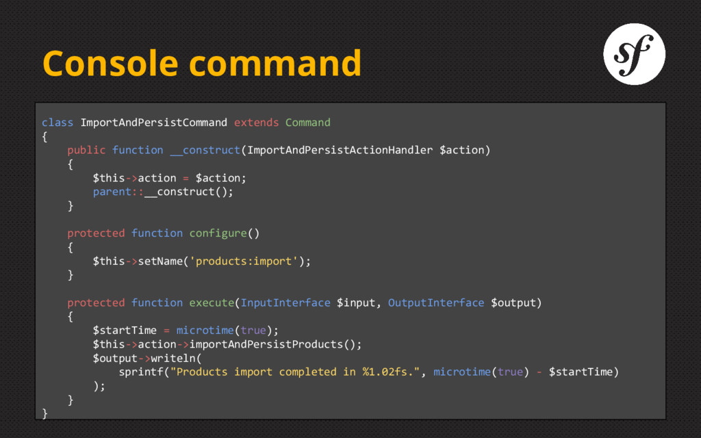 Console command class ImportAndPersistCommand e...