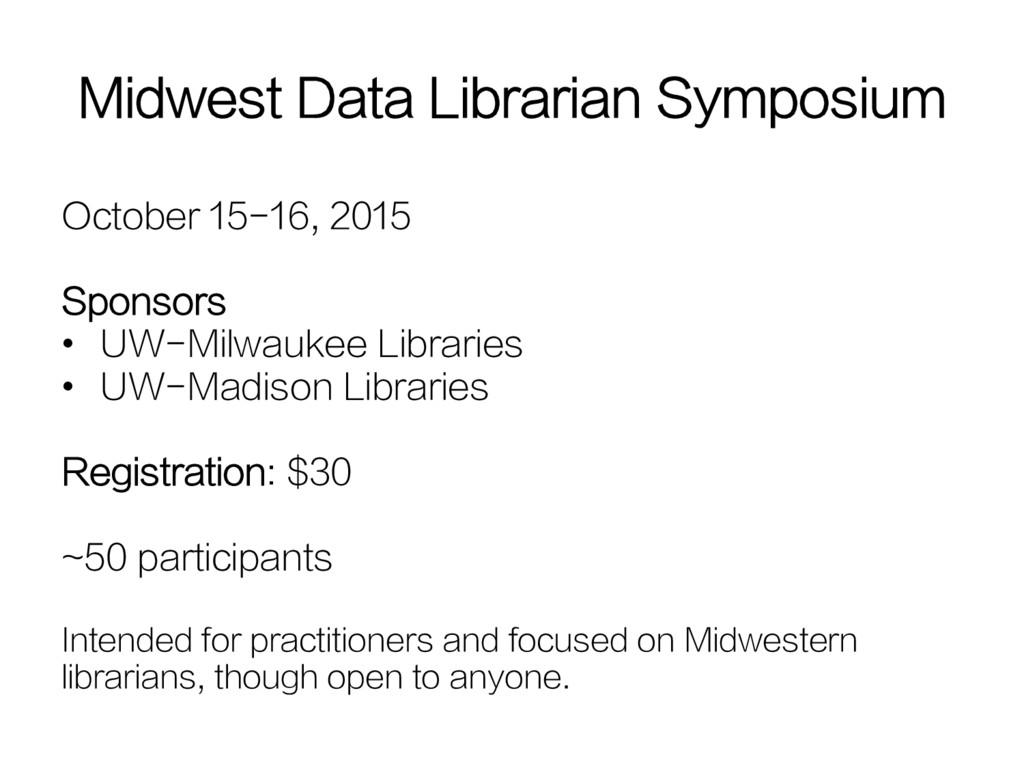 October 15-16, 2015 Sponsors • UW-Milwaukee Li...