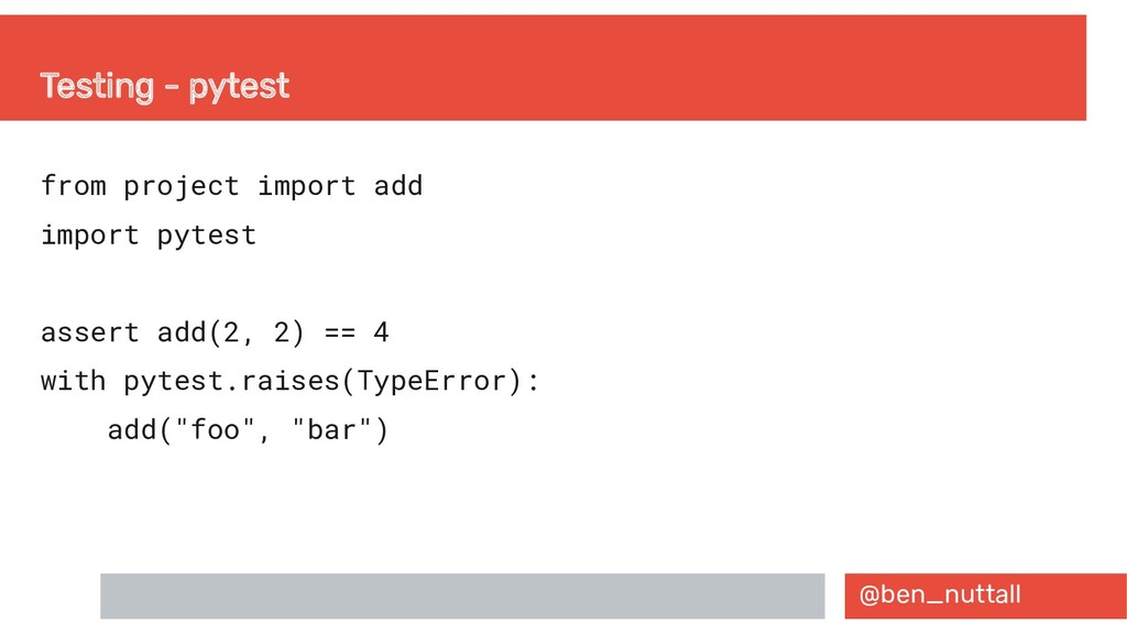 @ben_nuttall Testing - pytest from project impo...