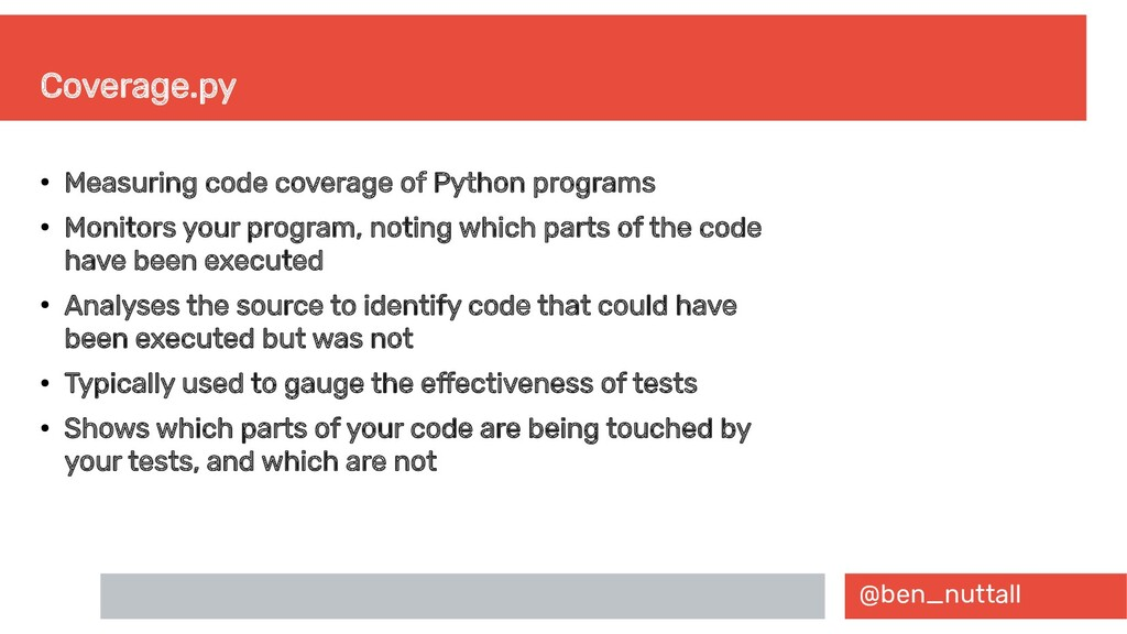 @ben_nuttall Coverage.py ● Measuring code cover...