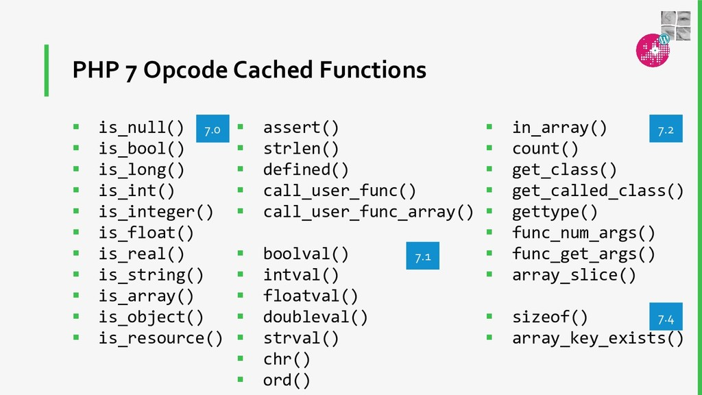 PHP 7 Opcode Cached Functions  is_null()  is_...