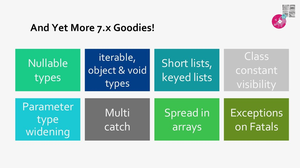 And Yet More 7.x Goodies! Spread in arrays Mult...