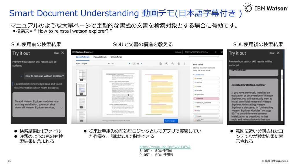 © 2020 IBM Corporation 16 マニュアルのような⼤量ページで定型的な書式...