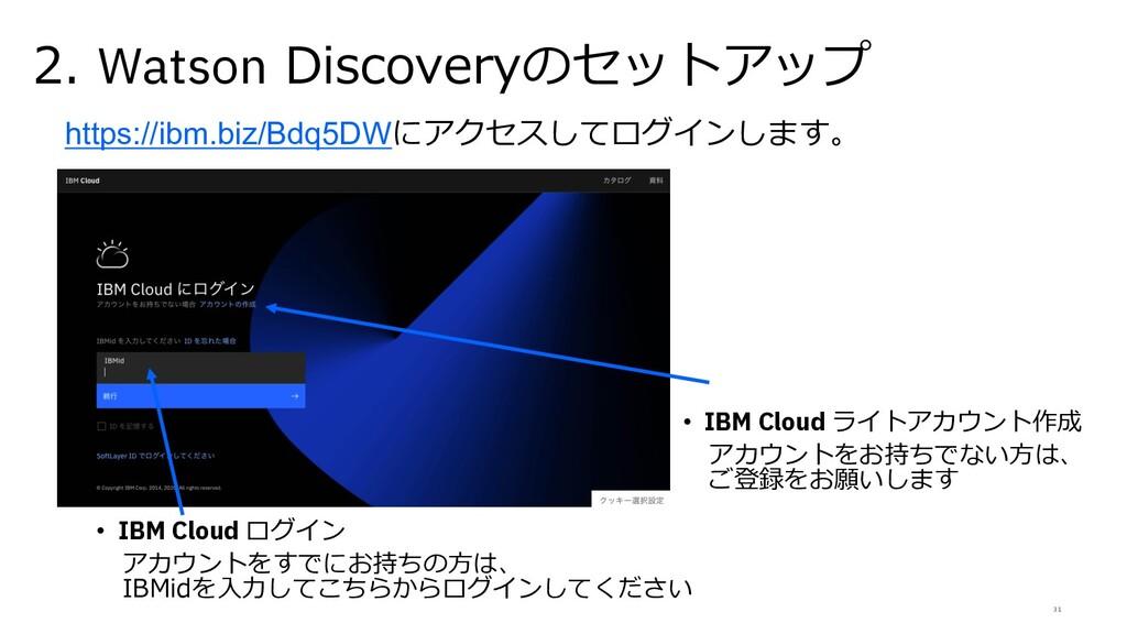 31 2. Watson Discoveryのセットアップ • IBM Cloud ログイン ...