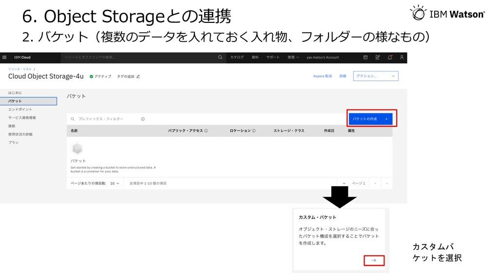 6. Object Storageとの連携 2. バケット(複数のデータを⼊れておく⼊れ物、フ...