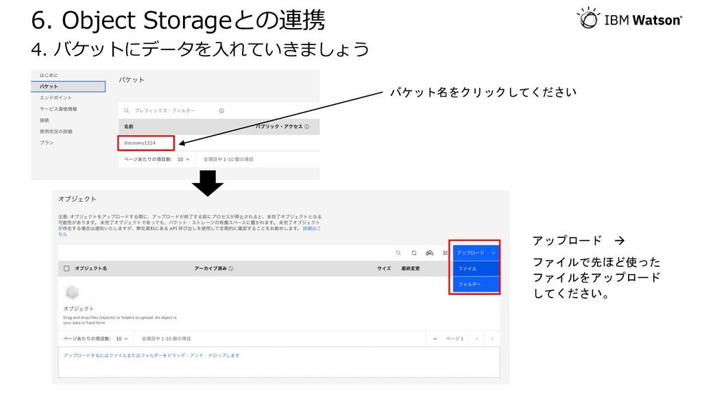 6. Object Storageとの連携 4. バケットにデータを⼊れていきましょう バケッ...