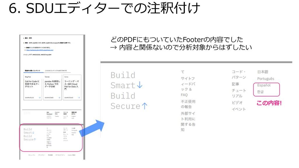 6. SDUエディターでの注釈付け どのPDFにもついていたFooterの内容でした → 内容...