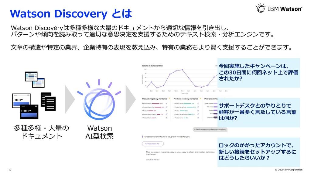 © 2020 IBM Corporation 10 多種多様・⼤量の ドキュメント Watso...