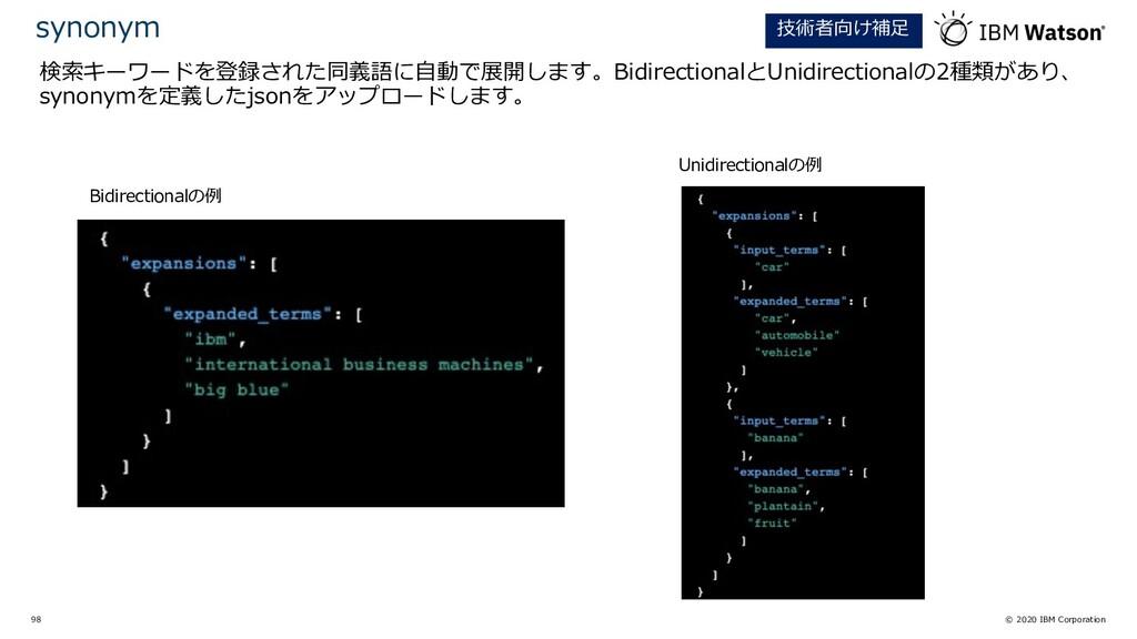 © 2020 IBM Corporation 98 検索キーワードを登録された同義語に⾃動で展...