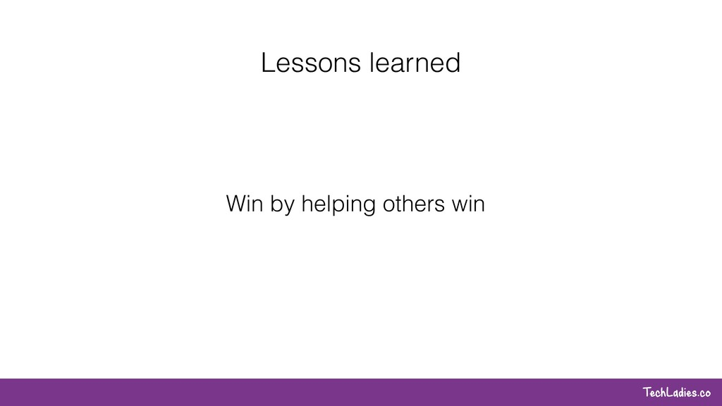 TechLadies.co Lessons learned Win by helping ot...