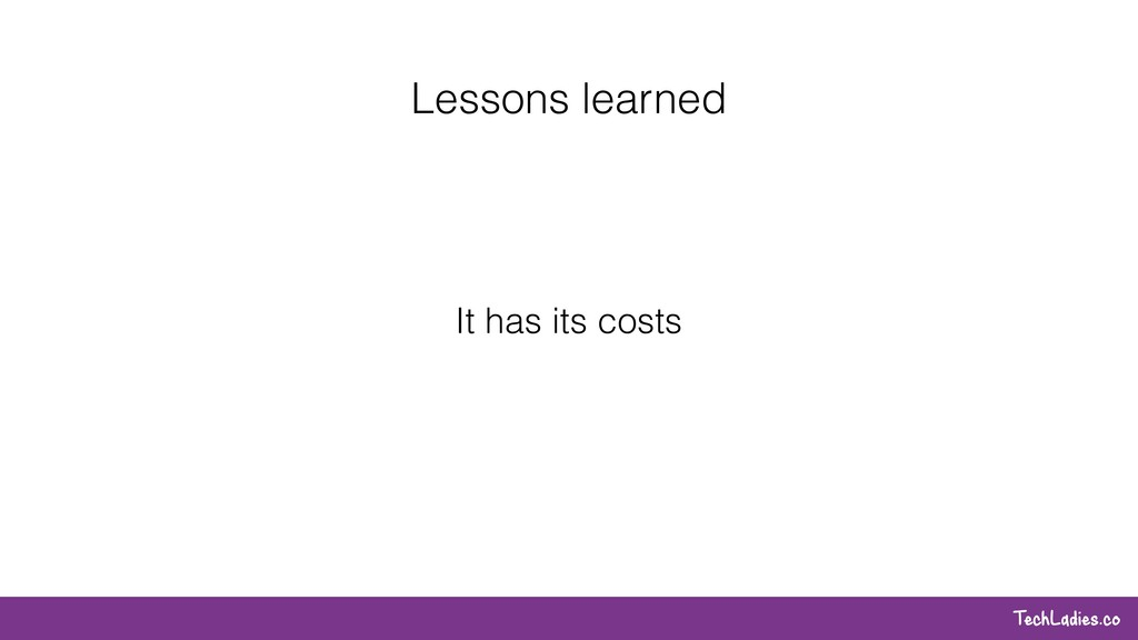 TechLadies.co Lessons learned It has its costs