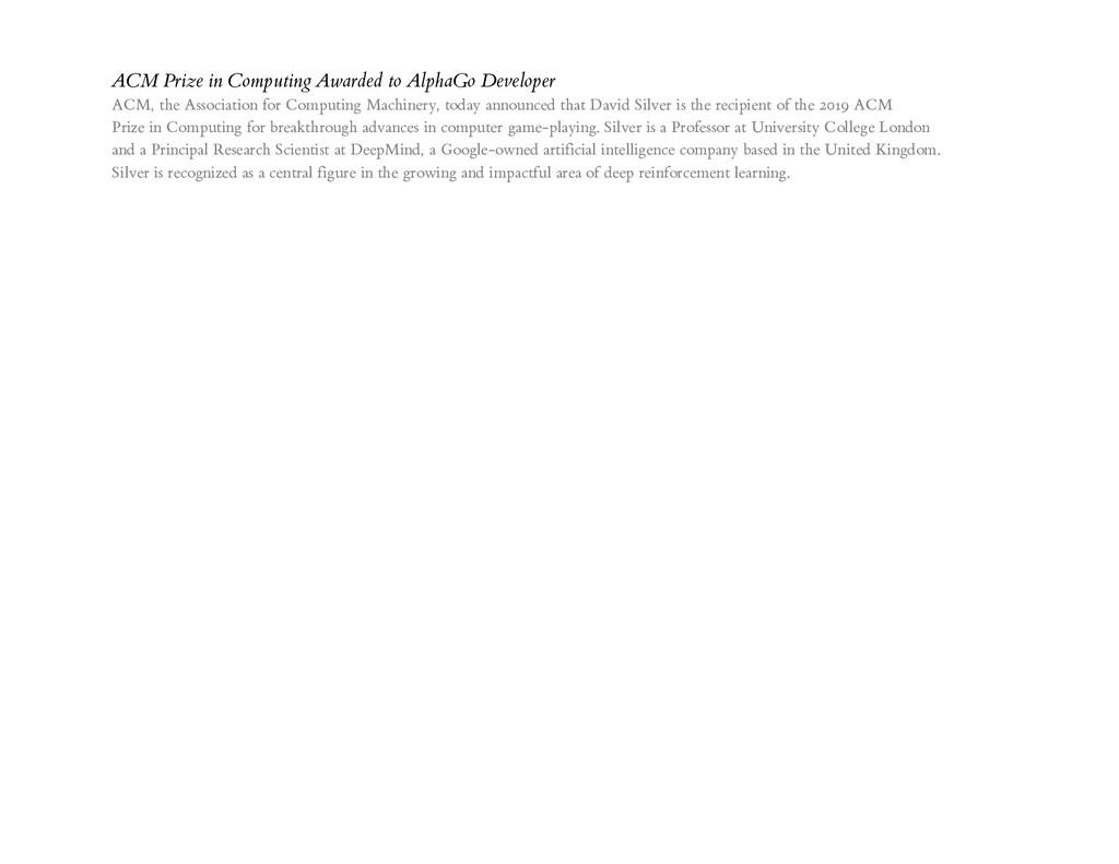 ACM Prize in Computing Awarded to AlphaGo Devel...