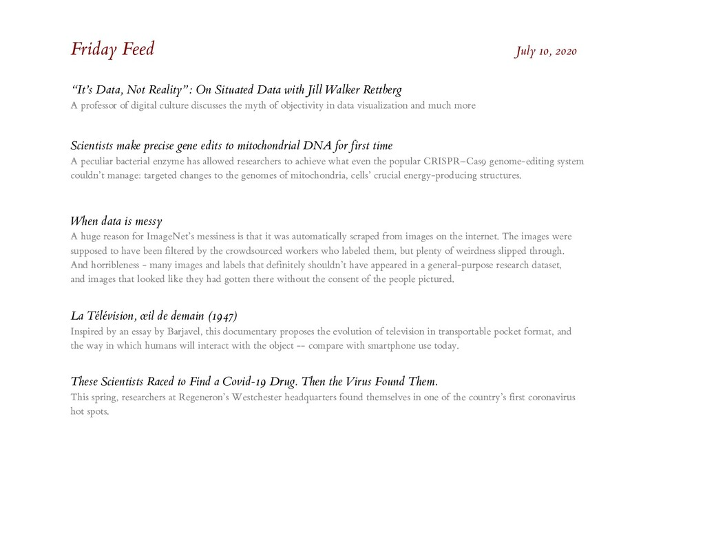 "Friday Feed July 10, 2020 ""It's Data, Not Reali..."