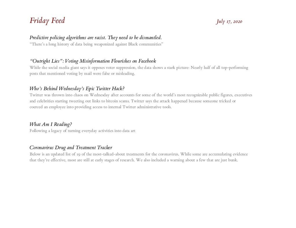Friday Feed July 17, 2020 Predictive policing a...