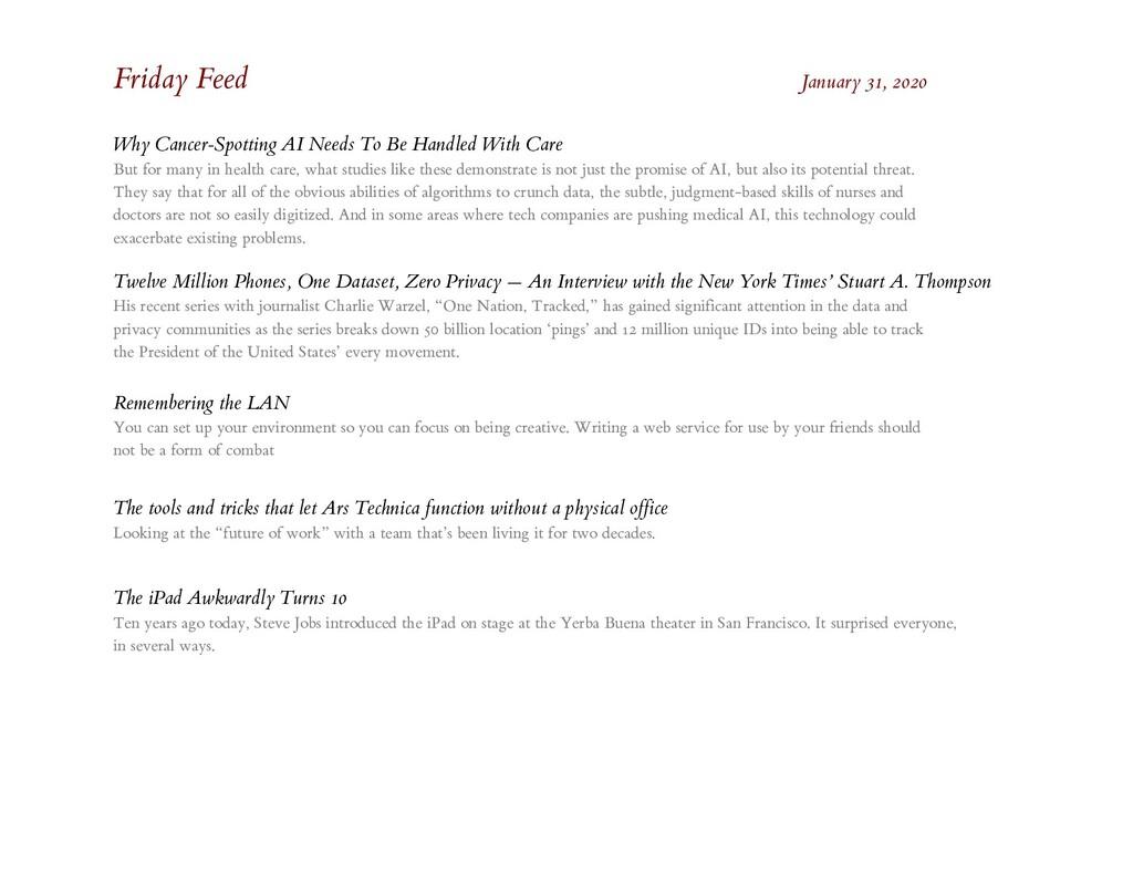 Friday Feed January 31, 2020 Why Cancer-Spottin...