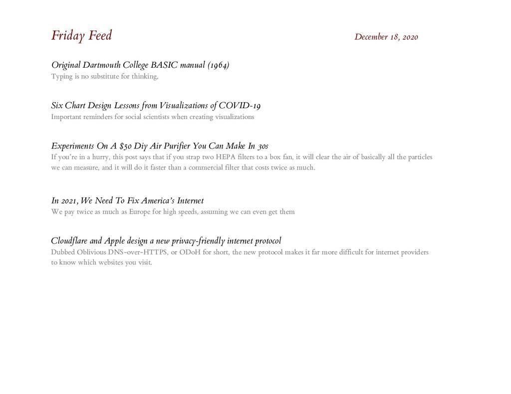 Friday Feed December 18, 2020 Original Dartmout...