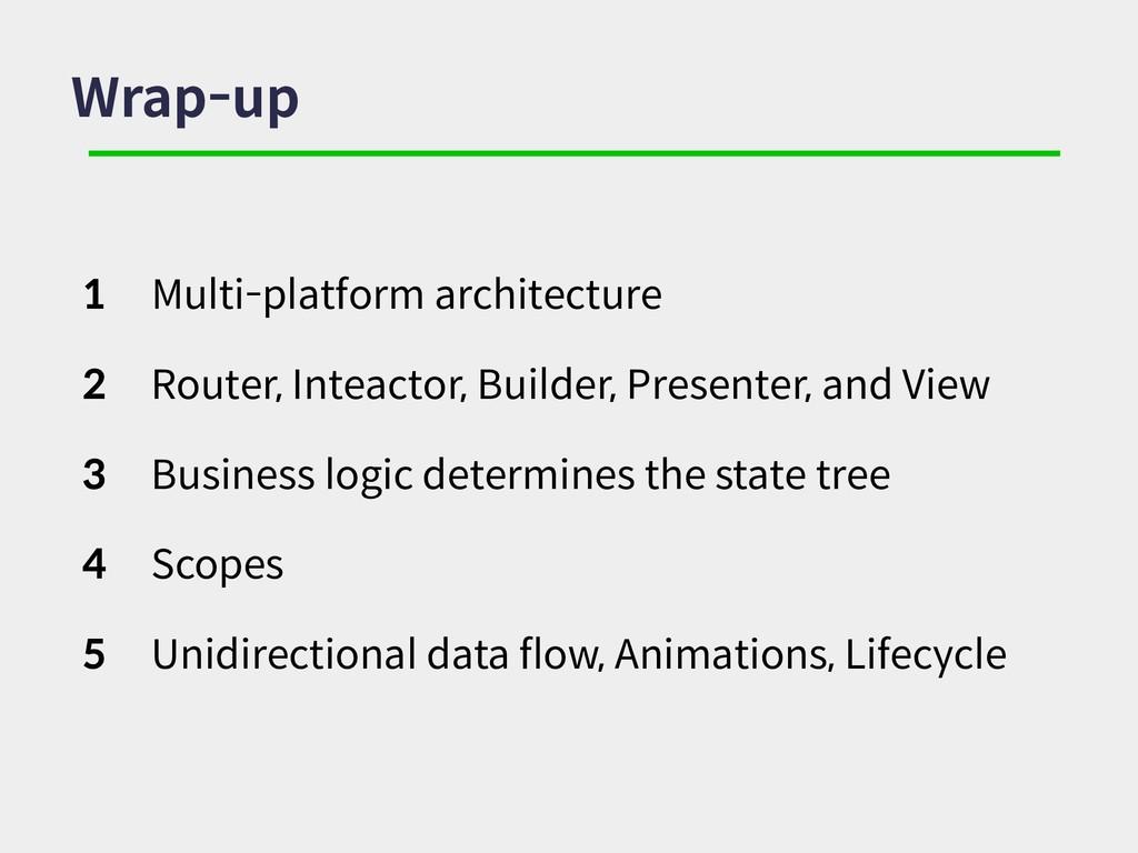 Wrap-up 1 Multi-platform architecture 2 Router,...
