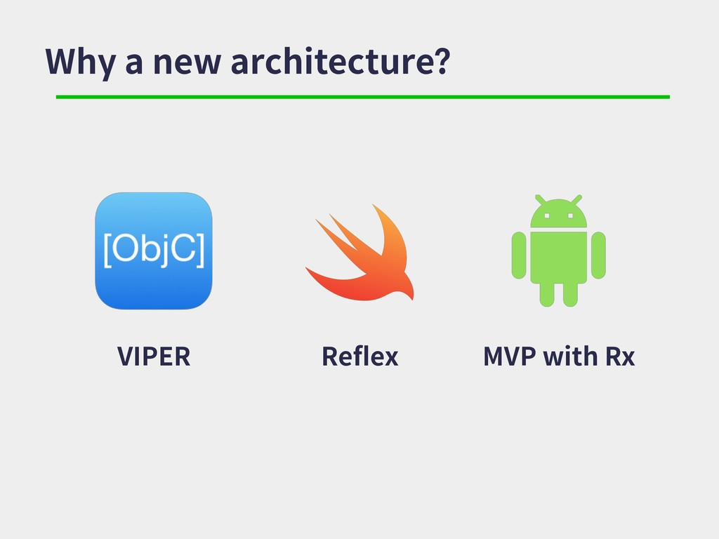 Why a new architecture? VIPER Reflex MVP with Rx