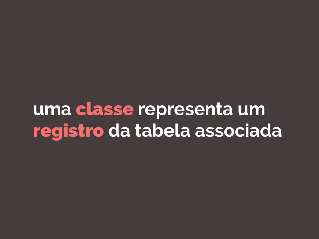 uma classe representa um registro da tabela ass...
