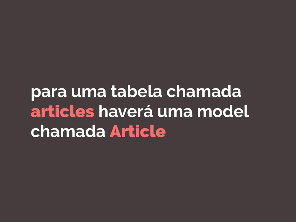 para uma tabela chamada articles haverá uma mod...