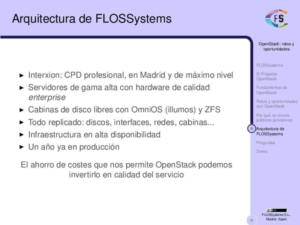 41 OpenStack: retos y oportunidades FLOSSystems...