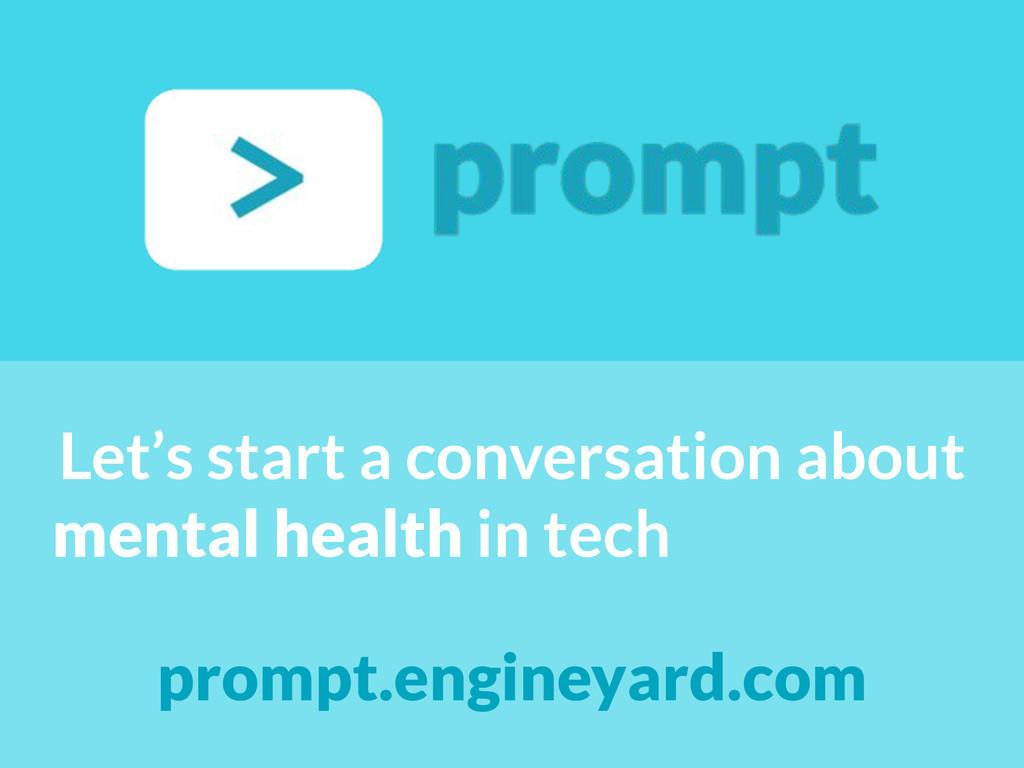 Let's start a conversation about mental health ...