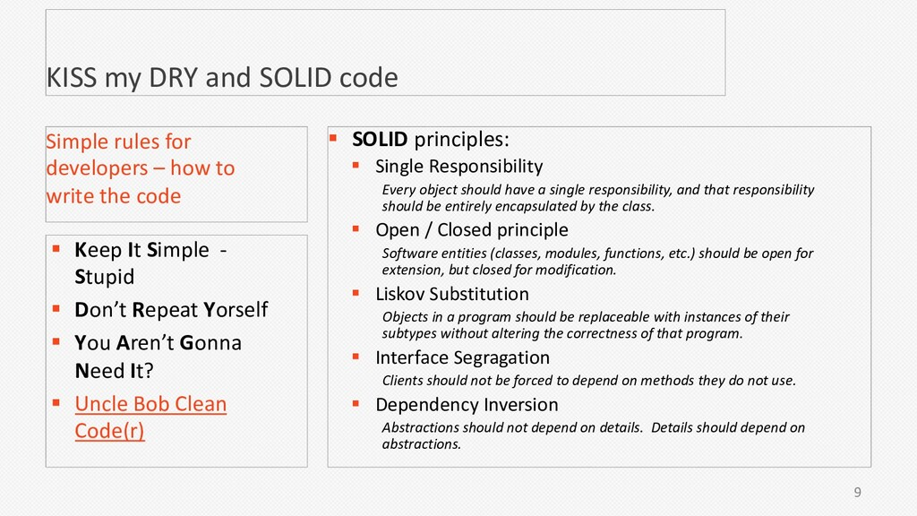 KISS my DRY and SOLID code 9 Simple rules for d...