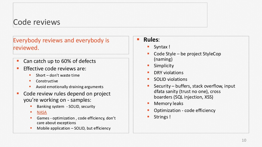 10 Code reviews § Can catch up to 60% of defect...