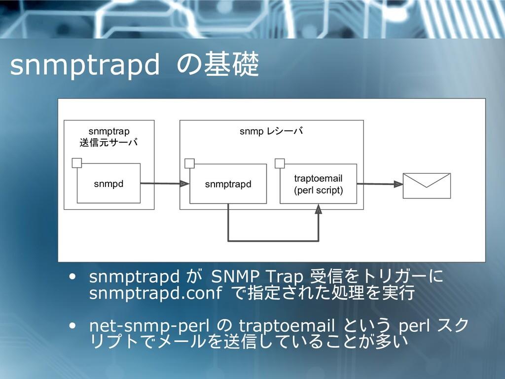 snmptrapd の基礎 snmptrap 送信元サーバ snmp レシーバ snmptra...