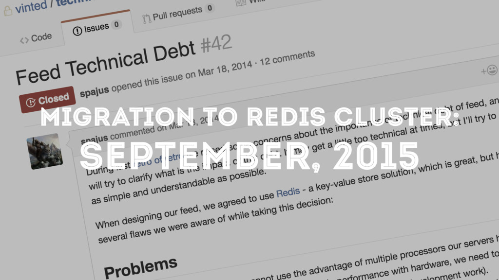 MIGRATION TO REDIS CLUSTER: SEPTEMBER, 2015