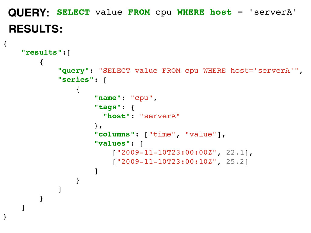 SELECT value FROM cpu WHERE host = 'serverA' { ...