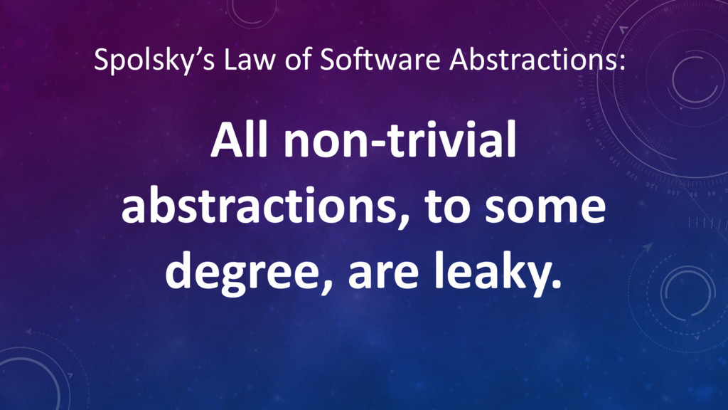 Spolsky's Law of Software Abstractions: All non...