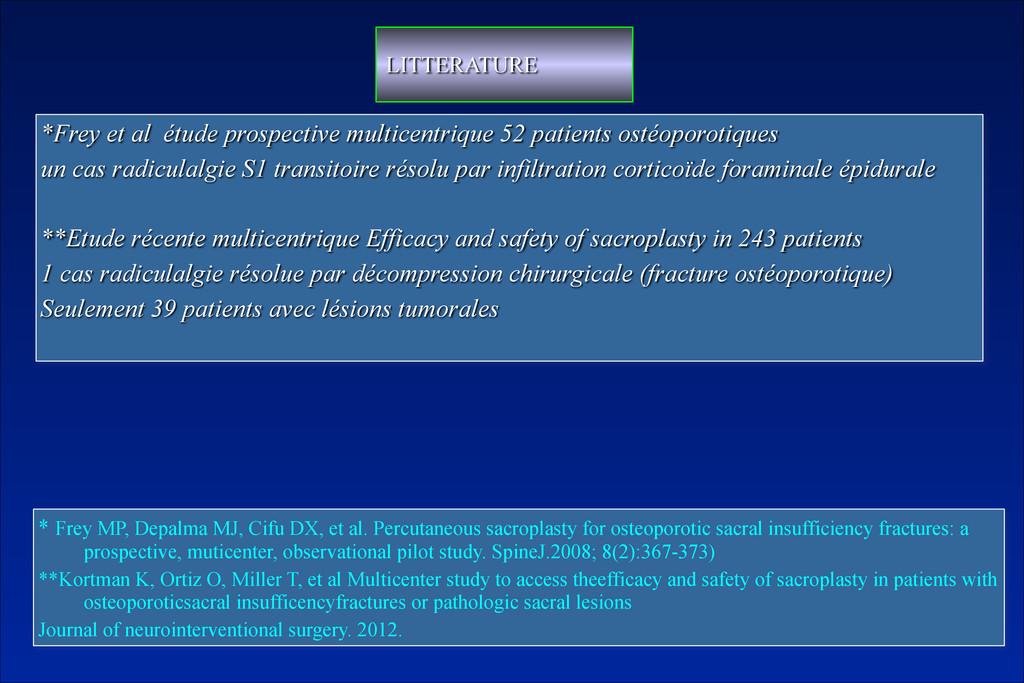 *Frey et al étude prospective multicentrique 52...