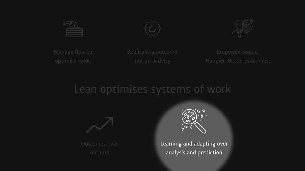 Manage flow to optimise value Quality is a outco...