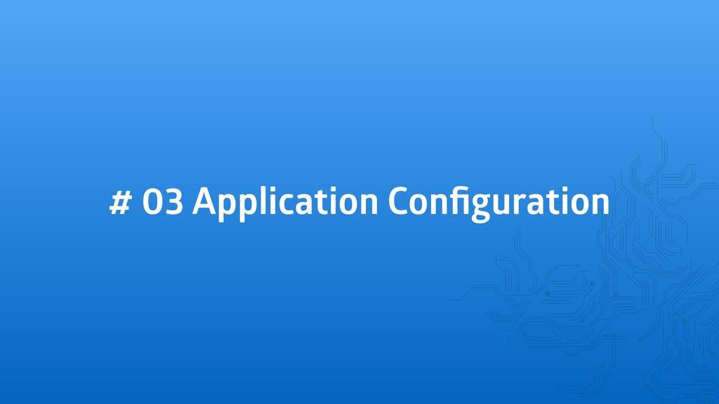 # 03 Application Configuration