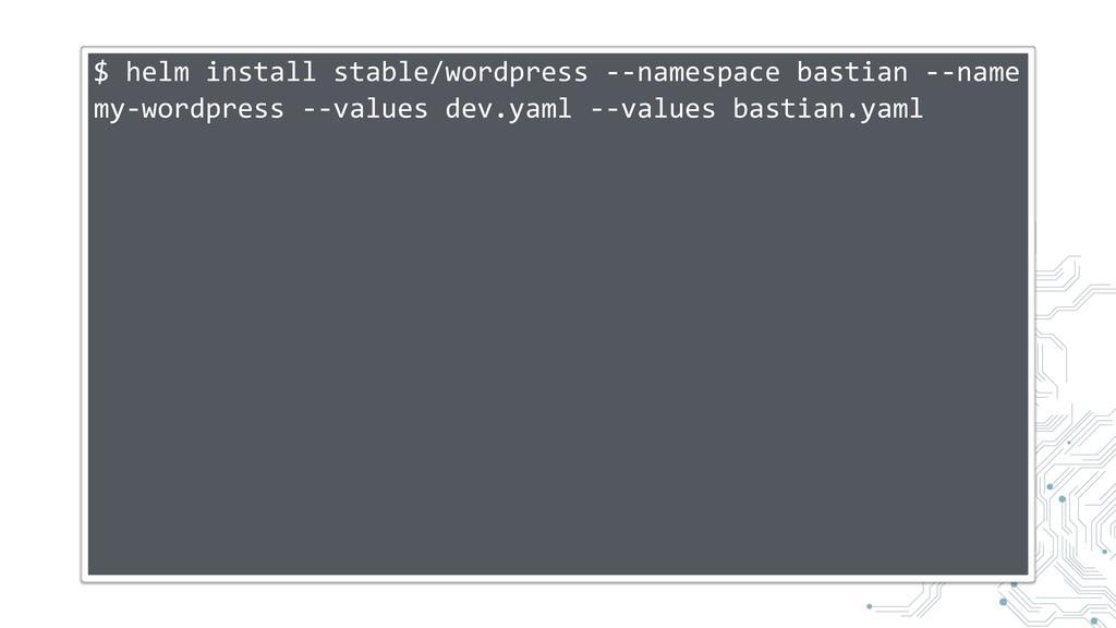 $ helm install stable/wordpress --namespace bas...
