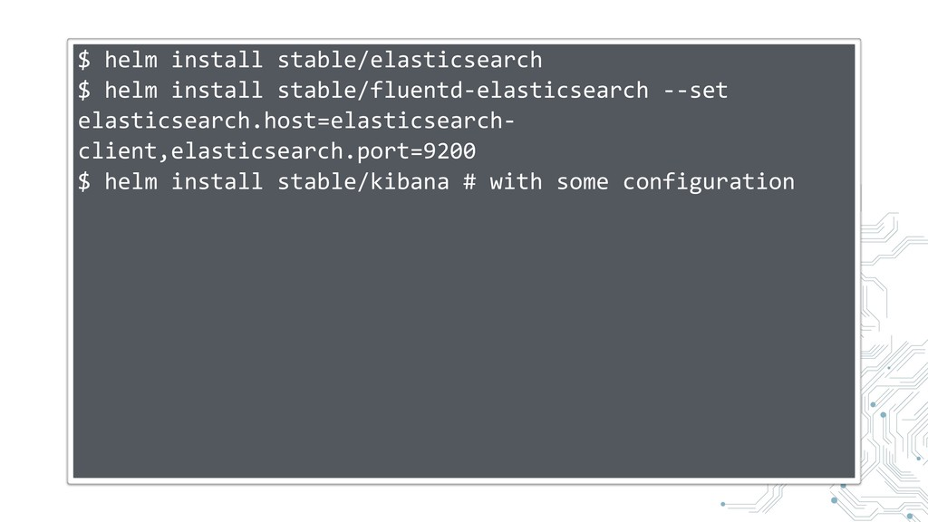 $ helm install stable/elasticsearch $ helm inst...