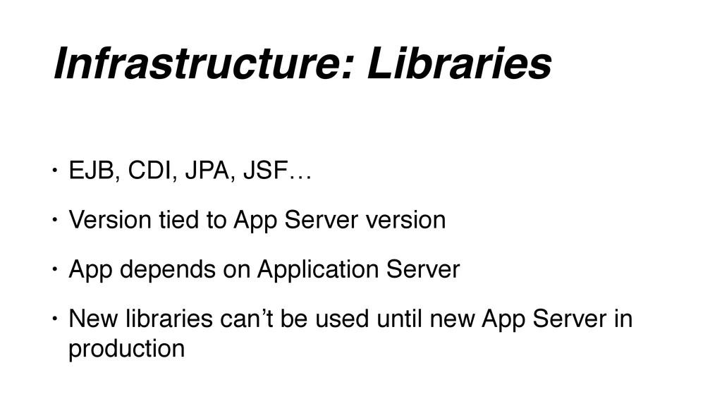 Infrastructure: Libraries • EJB, CDI, JPA, JSF…...