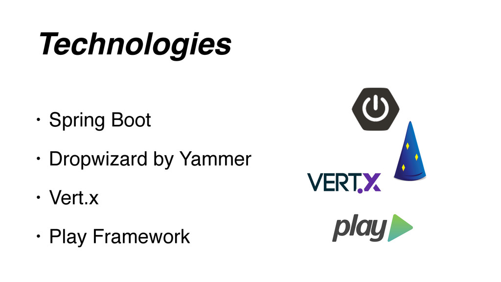 Technologies • Spring Boot • Dropwizard by Yamm...